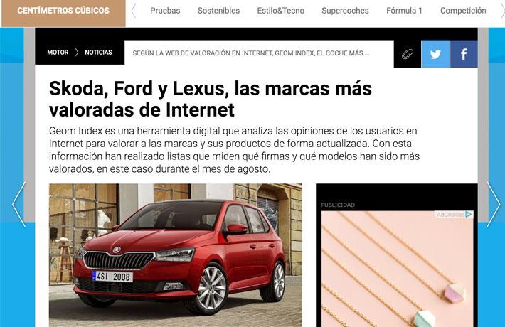 Skoda, Ford y Lexus, las marcas más valoradas de Internet